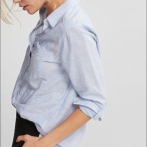 Express thin stripe boyfriend blouse sz M